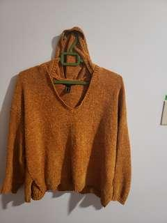 knit hooded sweater