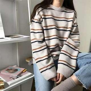 Cream orange stripped knit