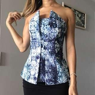 Finders Keepers Blue & White Bustier
