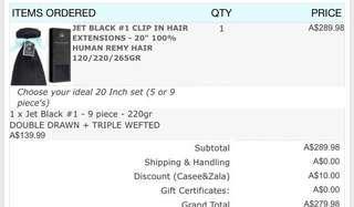 ZALA Hair Extensions 20ich Jet Black