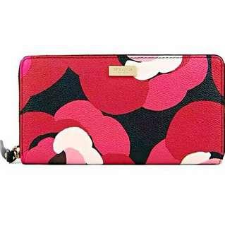 🚚 BNWT Limited Edition Authentic Kate Spade Floral Orient Rose Zip Long Large Wallet in Full Genuine Leather (Purse Pouch Bag Clutch Luxury Brand New)