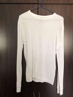 H&M White Long Sleeve Crew Neck Shirt