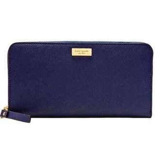 🚚 BNWT Limited Edition Authentic Kate Spade French Blue Navy Zip Long Large Wallet in Full Genuine Leather (Purse Pouch Bag Clutch Luxury Brand New)