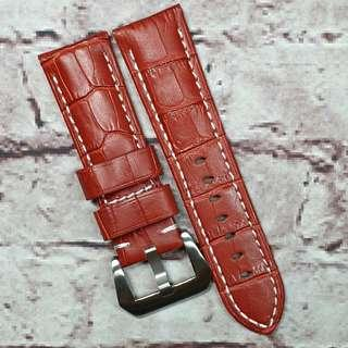 Sale : Premium Crocodile Embossed Genuine Leather 24mm Padded Watch Strap Red Color (1019RC24)