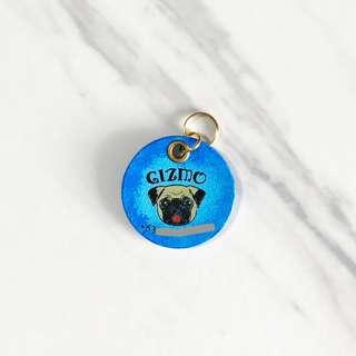 3cm Blueburst Pug Pet Tag Silent Noiseless Dog Small Lightweight Handmade Painted Leather ID Tag Custom Personalized