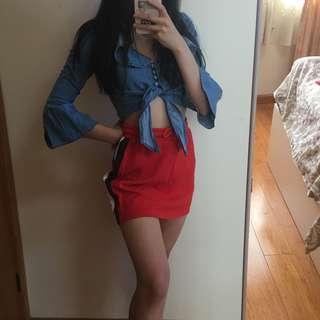 Red Side Stripe Skirt
