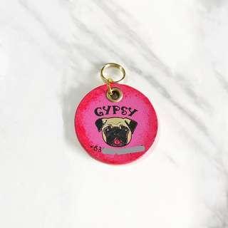 3cm Redburst Pug Pet Tag Silent Noiseless Dog Small Lightweight Handmade Painted Leather ID Tag Custom Personalized