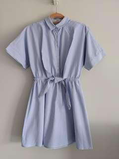 Mango blue tie waist shirt dress