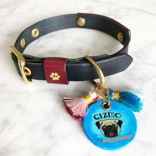 1.5cm Navy Blue With Red Accent Leather Dog Collar Personalized Personalised Name Number Custom Monogram Handmade Designer Luxury