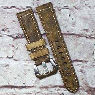 Sale : Premium Genuine Assolutamente Leather 22mm Padded Watch Strap Dark Brown Colour (1016DBA22)