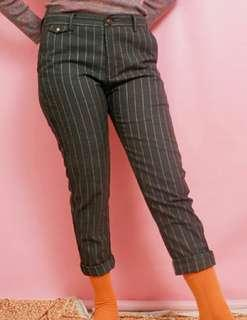 gray stripped trousers