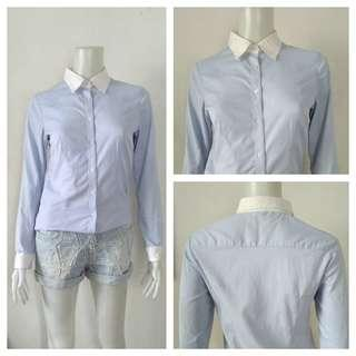 Light Blue Vertical Stripes Korean Office Top
