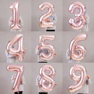 LARGE JUMBO FOIL BALLOON NUMBERS - ROSE GOLD 40 INCH