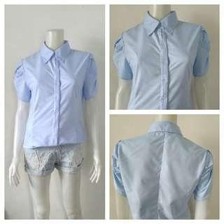 Light Blue Korean Puffer Sleeves Office Top