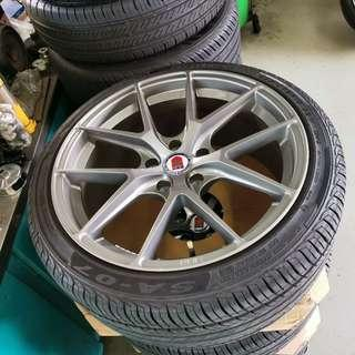 "18"" HRE P101 Gun Metal W/ 225/40R18 Thailand Make Tyres! (Used 2,3 mths only)"