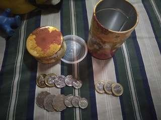 old coins with mini container