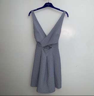 [ZARA] heart printed cut out light blue dress