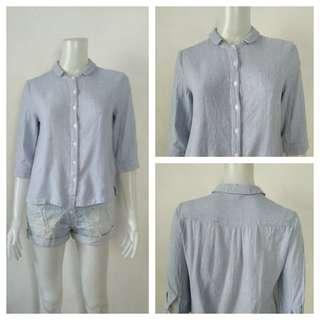 Omont Soft Denim Light Blue Stripes Polo