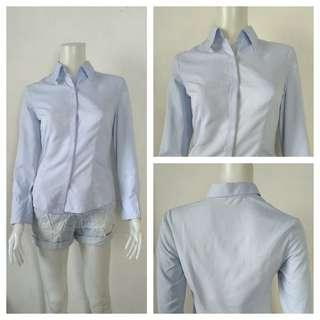 Huichuan Light Blue Korean Office Polo
