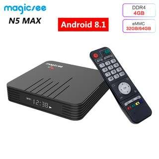 Original MAGICSEE N5 Max TV box Android 8.1 Amlogic S905X2 4 GB 32 GB / 64 GB Built-in Memory 5 GHz Wi-Fi Bluetooth set-top box 4 K Media Player