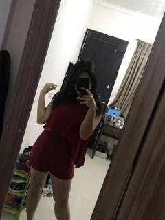 jumpsuit merah korea jumpsuit korea import jumpsuit merah maroon pendek