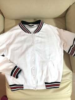 New look white bomber jacket with red and black stripe