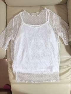 Korean white see through shirt top with white tank top