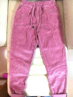 Vintage high waisted pink corduroy pants with elastic waistline