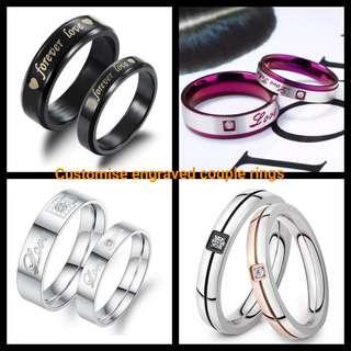 🚚 Customise Engrave Engraved Couple Ring Rings