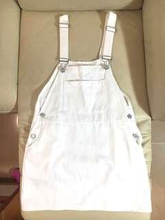 Korean white denim overall dress