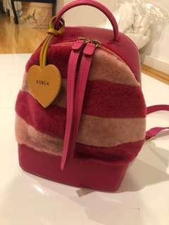 Furla pink fluffy backpack