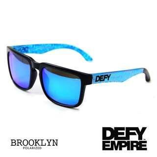 🚚 BROOKLYN - MATTE BLACK FRAME/ICE BLUE MIRROR POLARIZED LENSES SUNGLASS