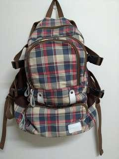 🚚 正貨韓國品牌vensers 多隔層容量大◇棉麻牛皮格紋減壓後背包