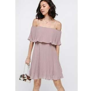 🚚 Love, Bonito Darosia Pleated Layer Dress in dusty pink