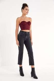 Light black washed high waist jeans with raw hems