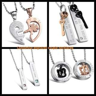 🚚 Customise Engrave Engraved Couple Necklace Necklaces