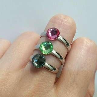 <FREE DELIVERY> Genuine Swarovski Elements Crystals Birthstone Diamond Crystal Adjustable Unisex Lucky Ring