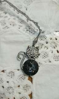 🚚 貓咪水晶鑽石長項鍊