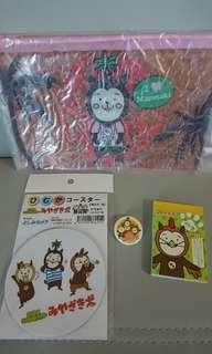 全新 日本宮崎市得意文具共4件,包括拉鏈袋、柸墊、襟章及小簿