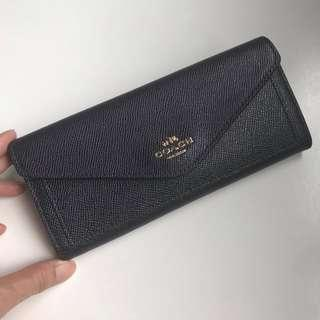 Coach Envelope Soft Wallet Saffiano Leather Navy