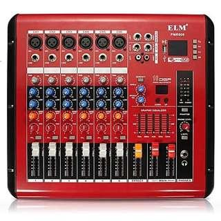 ELM PMR606  6 Channel Bluetooth Tuning Amplifier Digital Tuner Mixer for Stage