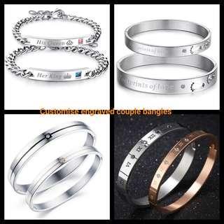 🚚 Customise Engrave Engraved Couple Bangle Bracelet