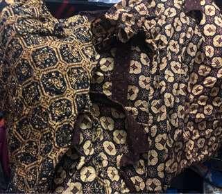 1 set batik ( pria dewasa xl anak usia 14 th,anak usia 11 th, dress batik usia 5 th, rok batik uk M) sekali pakai