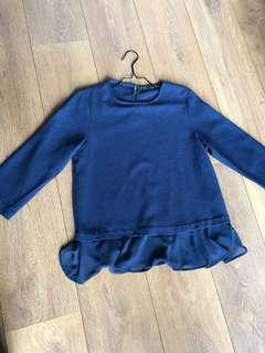 Zara top navy blue with frills