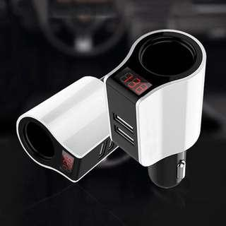 Car Power Socket with USB Digital Meter