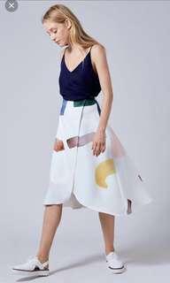 ⚡️LF : Birthstone Overlap Skirt (Navy / White)