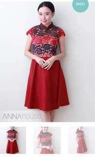 Red Cheongsam Dress in M size