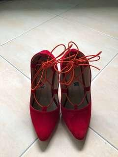 lace up red heels
