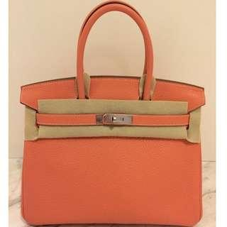 62553bc6b859 AUTHENTIC New in Box Hermes Birkin 30 Crevette Clemence Palladium Hardware