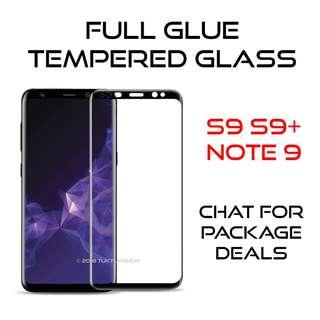 Note 9 S9+ S9 Full Glue Tempered Glass Screen Protector
